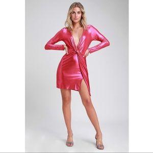 Lulu's Dresses - LULU'S Glow Like Me Hot Pink Metallic Dress - NWT
